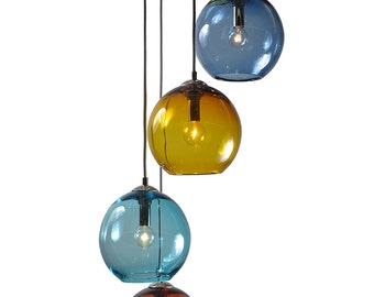 Gumball  5 Port Cluster Pendant Chandelier Hand Blown Pendants Globes Pendant Lighting