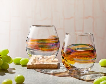 Stemless Wine Glasses for Cocktails, Wine, or Sangria. Handmade Hand Blown Glassware, barware, and glass sets. Made in USA.
