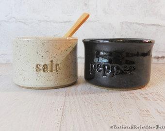 Salt & Pepper Pots - 2 piece SET - Modern Kitchen - Pottery Salt Cellar - Salt Container - Gourmet Gift - Salt Pig - Cooking - Kitchen Decor