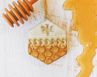 Bee & Honeycomb Christmas Ornament - Handmade Pottery - Honey - Honeybee - Beekeeper gift - Christmas Tree - US SHIPPING INCLUDED