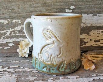 Bunny Handmade Pottery Mug - Easter - Spring - Ostara - White & Green Rabbit Mug - Tea Cup - Stoneware Mug - Coffee Cup - IN STOCK