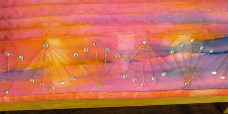 Art Quilt Abstract Martian Sunset Rhinestones