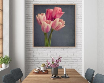 Tulip Print, Pink Tulip Photography Print, Tulip Art, Large Wall Art, Flower Photography, Girls Room Wall Art, Flower Wall Art