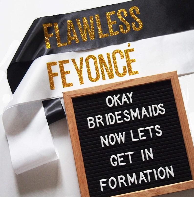 8 Piece Feyonce Flawless Bachelorette Party Sash Set Bride Sash Bridesmaid Gifts Bachelorette Party Sash Bride to be Sash