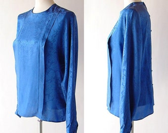 vintage Silk Blouse in Blue / 1980s Pleated Silk Top / Button Back shirt / long sleeve / drape Anne Klein II / modern minimalist s m