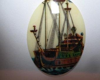 Vintage Acrylic 40x30 Ship Cameo -No 4