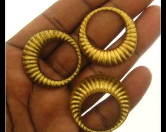 Only 4 Sets Left-8 Vintage Brass Scallop Hoop Pendants