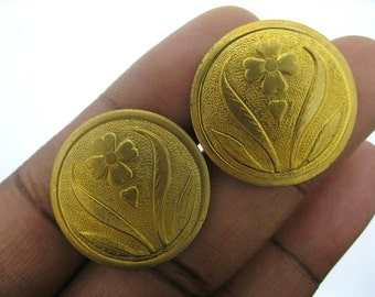 Only 2 sets Left-6 Vintage Brass 4 Leaf Clover Disc Findings