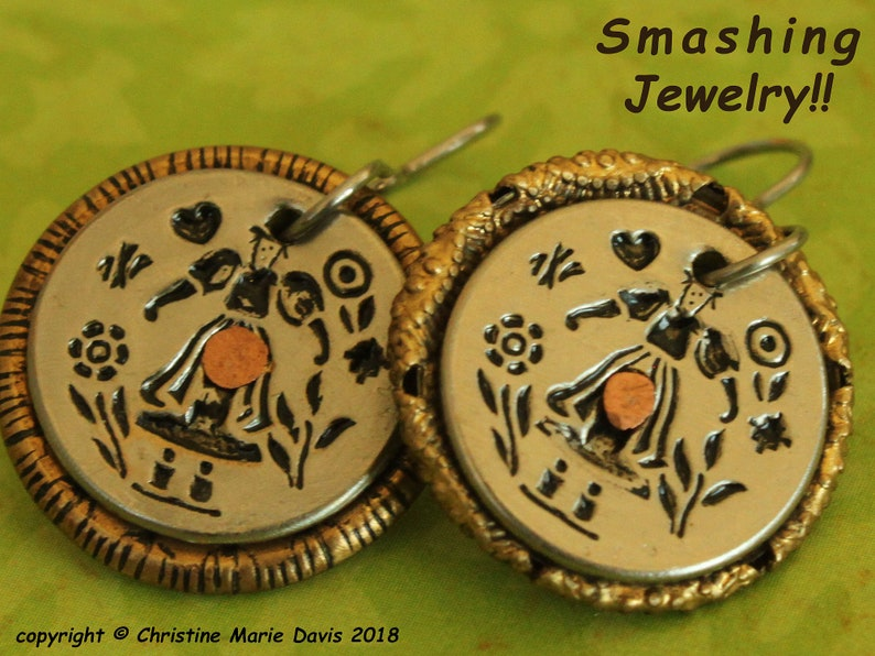 NEW  My Sweet Milkmaid  smashed button earrings  recycled image 0