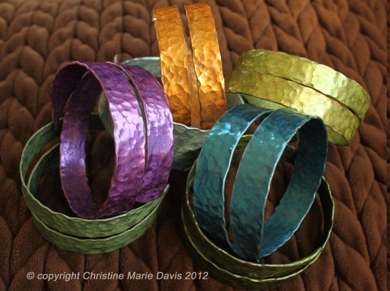 Gifts for Knitters... SMASHED Metal Knitting Needle Bangle image 0