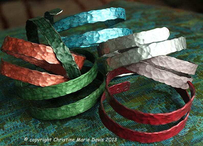 SALE Thin SMASHED Metal Knitting Needle Bracelet Gift for image 0