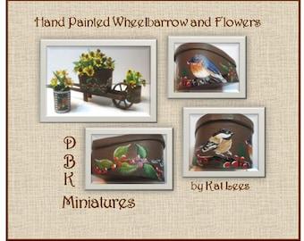 Hand Painted Wheelbarrow and Flowers
