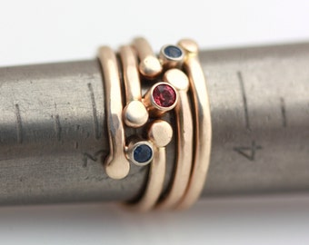 gold and sapphire stacking rings
