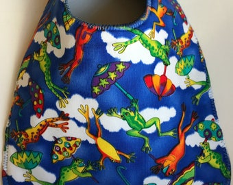 Baby Bib:  Jumping Frogs and Umbrellas