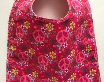 Toddler / Baby Bib Peace Signs in Pink Baby Girl Bib