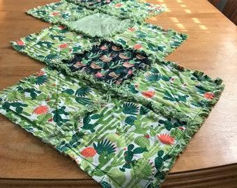Cactus Rag Quilt Table Runner Plant Decor Summer Porch Succulent Quilt