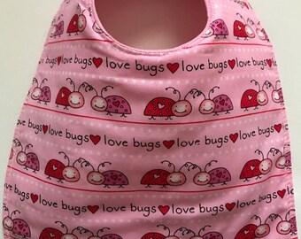 Baby Bib:  Love Bug Baby Bib Valentine Baby Bib Baby Girl Bib