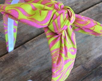 LAST ONE Hot Pink Floral Knot Tie Headband Bandanna Head Wrap Rock Fashion Headband
