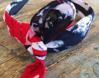 Red White And Blue Tie Die Knot Tie Headband Bandanna Head Wrap Rock Fashion Headband