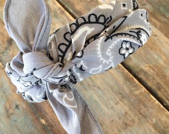 Bandana Knot Headband (GREY)