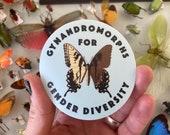 """Gynandromorphs for Gender Diversity 3""""x3"""" Sticker"""