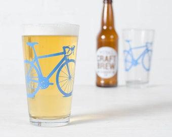 VITAL Bike GLASSWARE SET of 2 screen printed bicycle glasses Pint size