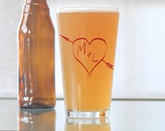 True love monogram, custom screen printed pint glasses, SET OF 6