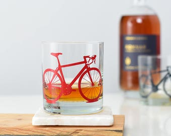 BICYCLE ROCKS GLASSES screen printed rocks/ old fashioned glassware