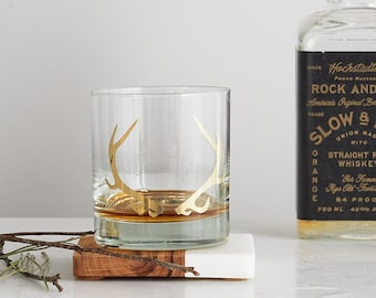20K Gold Antler Glass- SET of 2