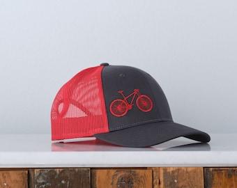 Mountain Bike Low Profile Trucker Hat - Red Charcoal