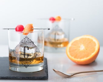 Monogram Old Fashioned Glassware Set - Diamond, set of 6