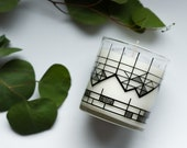 Geometric Mountain Candle In Reusable Rocks Glass
