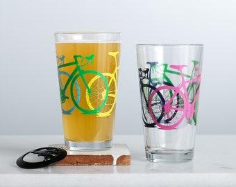 TEST PRINT bike glasses, multi-colored bicycles,  set of 2