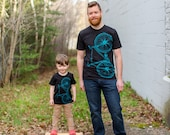 Fixie Bicycle T-shirt, Bright Teal, FATHER and SON Matching T-Shirt Set, Black Cotton Tee