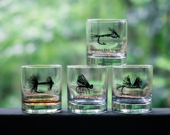 Fly Fishing Cocktail Glasses- SET of 2