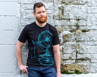 Men's Fixie Tee - Bright Teal Bike on Black Cotton t-shirt