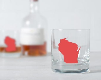 USA STATE Silhouette Old Fashioned Glass SET of 2 Hand printed colorful rocks glass