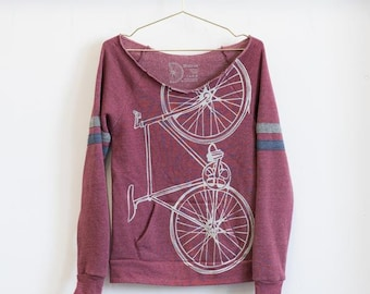 OOPS! SALE - L Womens Bike Sweatshirt  -white bicycle on current pullover sport fleece 422