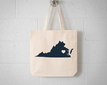 Virginia LOVE Tote RICHMOND charcoal state silhouette with heart on natural bag