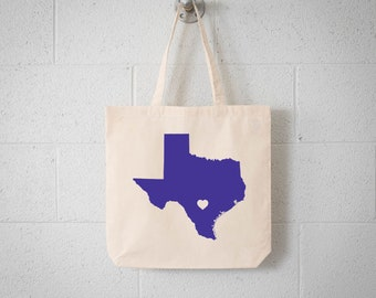 TEXAS LOVE Tote San Antonio purple state silhouette with heart on natural bag