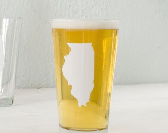 Illinois WHITE pint glass SCREEN PRINTED single beer glass