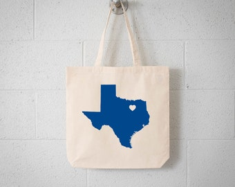 Texas LOVE Tote Dallas ROYAL BLUE state silhouette with heart on natural bag