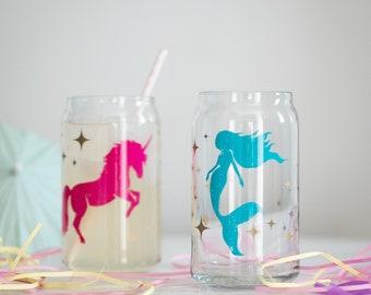 Mermaid & Unicorn Can Glasses- SET of 2