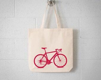 ECO Vital Bicycle tote - bike screen print natural bag