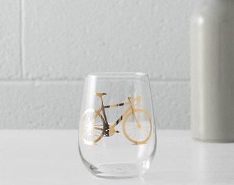 Vital Bicycle Precious Metals WINE Glasses SINGLE Gold or Platinum screen printed stemless glass