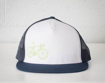 Vital Bicycle - trucker cap, neon green on navy