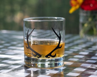 Antler screen printed glassware, Matte Black, Pints and Old Fashioned, set of 2