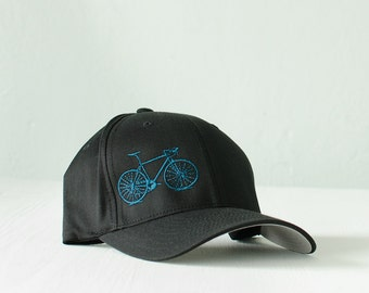 large -  XL - Vital Bicycle - flexfit fitted hat, teal on black