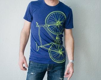 FIXIE Bike TSHIRT XL mens lime green bicycle on indigo tri-blend extra large