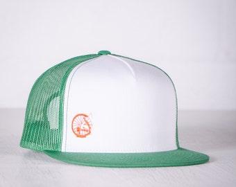 BIKE WRECK! Vital Bicycle - trucker cap, orange on green- 012